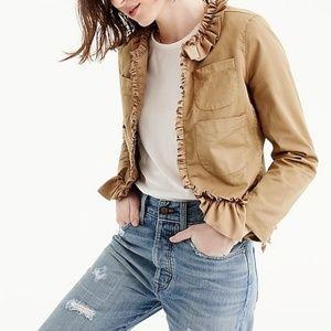 J. Crew Ruffle chino jacket khaki blazer size 4
